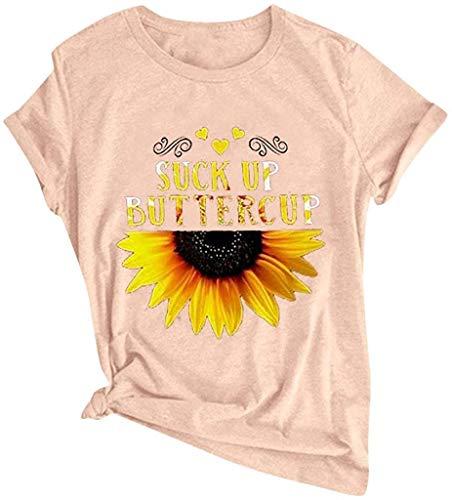 Camisetas divertidas con refranes para mujer sarcásticos de girasol, camisetas de manga corta con texto en inglés