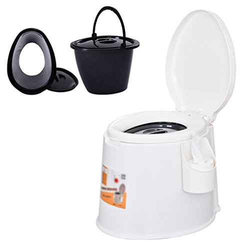 Toilette de camping léger et portatif adapté pour l'utilisation intérieure et extérieure Loo Camping caravane pique-nique pêche et festivals (Couleur : Blanc)