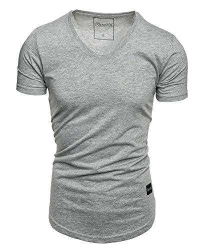 REPUBLIX Oversize Herren Slim-Fit V-Neck Basic Sommer T-Shirt V-Ausschnitt R-0004 Grau Melange XL