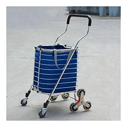 WANGYIYI Trolley de compras ligero Carrito de compras plegable Carrito de compras de la gran capacidad de la mano de la escalera de la escalera de la escalera de la escalada con ruedas giratorias roda