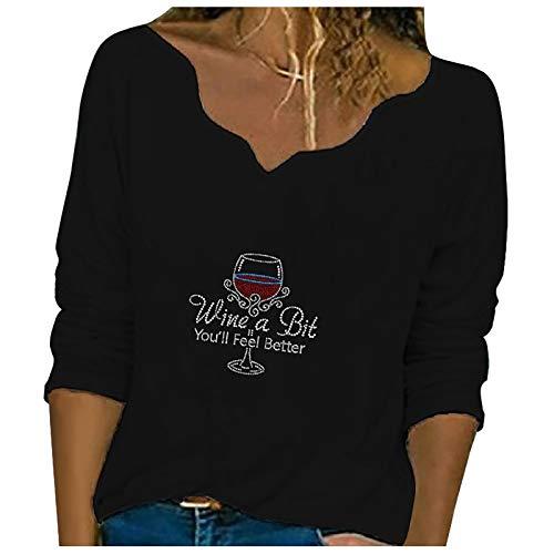 Camiseta de Manga Larga Mujer, 2021 Amor Impresión Moda Casual Diario Cuello en V Camiseta Blusas básica Camiseta Suelto Suéter Camisas Sudadera Chaqueta Top Jersey tee