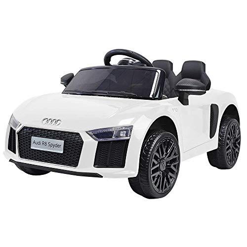LGVSHOPPING Auto Macchina Elettrica Audi R8 Spyder 12V 1 Posto per Bambini Audi Licenza Ufficiale con Telecomando (Bianco)
