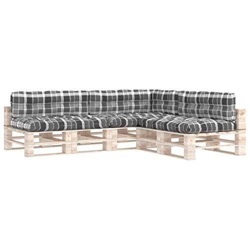 vidaXL Cojines para Sofá de Palets 7 Piezas Asiento Silla Respaldo Jardín Patio Balcón Terraza Exterior Cómodo Decoración Estampado a Cuadros Grises