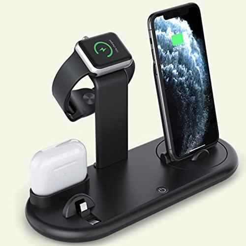 Cargador Inalámbrico 7 En 1, Estación De Carga Inalámbrica Fast QI con Base para Soporte Compatible con iPhone 12 12 Pro MAX 11 X XS Compatible con AirPods 2 Pro Compatible con Apple Watch 2 3 4 5