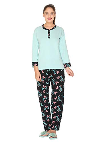 Duchess Women's Printed Cotton Top and Pyjama Night Wear Suit Set (TBLUE-Navy :L)