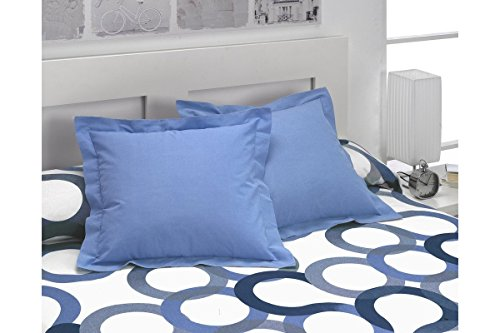 SABANALIA - Pack 2 Unidades Funda de cojín Basic Colours, 50 x 50, Azul