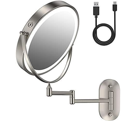 Copsrew Espejo Maquillaje con Luz LED Aumento 1X/5X Espejo Cosmético Iluminoso de Doble Cara, Ccargar con Cable USB, 360 Rotación (Níquel)