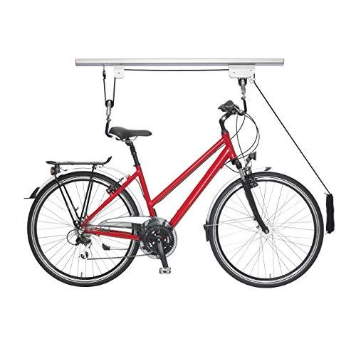 Relaxdays Elevador de Bicicleta hasta 20 kg, Elevador de Techo con Cable para Garaje y sótano, Soporte de Techo para Bicicleta, Plata/Negro, 1 Pieza