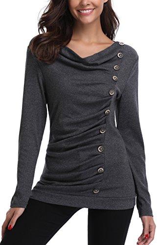 MISS MOLY Damen Langarmshirt Pullover Tunika Bluse T Shirt mit Knöpfen Dunkel Grau Medium