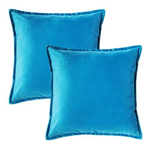 Bedsure Funda Cojin 45 x 45 Azul Celeste - Juego de 2 Fundas Cojines Decorativas de Terciopelo, Muy Suave, Funda de Almohada Cuadrada para Sofá, Dormitorio y Sala de Estar, con Cremallera