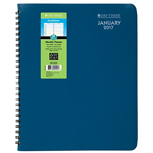 "Day-Timer Monthly Planner / Appointment Book 2017, Journal Size, 5-1/2 x 8-1/2"", Coastlines, Blue (32296)"