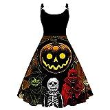 Julhold Vestido de cóctel para mujer Vintage Halloween tema impresión sin mangas hasta la rodilla A-line vestido de fiesta (rojo, XXL)