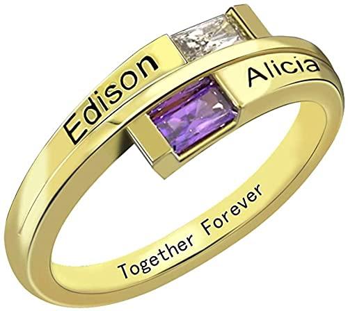 Yimesoy 925 anillo de plata de ley doble anillo de bypass trapezoidal largo 2 anillos de piedra de nacimiento anillo grabado anillo de compromiso de mujer 11.5 oro