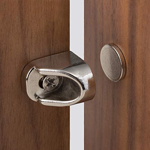 Keenkee 4 PCS Magnetic Cabinet Door Catches Hardware Fittings with Neodymium Magnets for Furniture Door Stoppers, Closer, Latch, Nickel Color, Free Wood Screws
