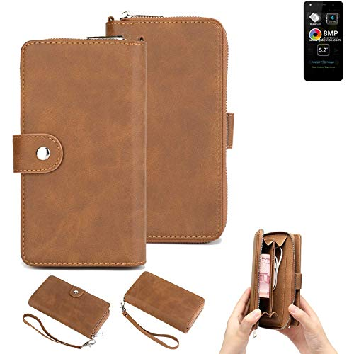 K-S-Trade® Handy-Schutz-Hülle Für Allview A9 Lite Portemonnee Tasche Wallet-Case Bookstyle-Etui Braun (1x)