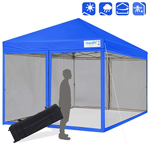 Quictent 8x8 Ez Pop up Canopy Tent with Netting Instant Setup Screen House Mesh Screen Walls Waterproof Wheeled Bag (Royal Blue)