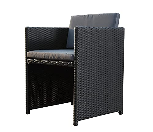 CONCEPT USINE - Lot de 2 fauteuils en résine tressée Miami Noir/Gris