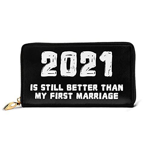 DJNGN 2021 es aún Mejor Que mi Primer Matrimonio Divertida Billetera de Cuero de Divorcio con 12 Ranuras para Tarjetas Moda y personalización