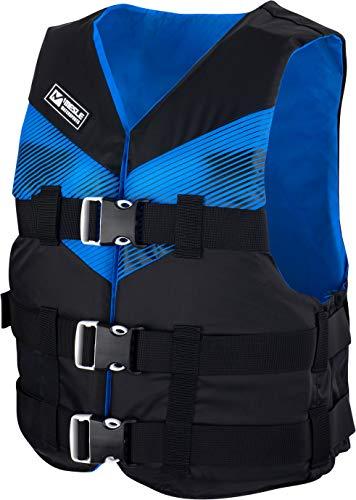 MESLE Schwimmweste V210, leichte Schwimm-Hilfe, Erwachsene & Jugendliche, 50-N Auftriebsweste für SUP Wasserski Paddeln Wakeboard Kajak Schnorchel-Weste, Wassersport, Farbe:blau, Größe:XL