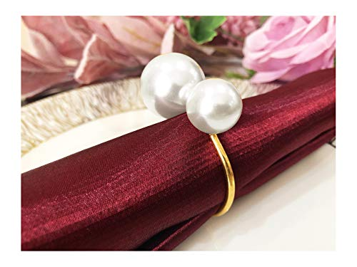 Pearls Napkin Rings Buckles, Silver Gold Serviette Buckle Holder for Xmas, Family Gathering, Dinner Party, Wedding Décor(Gold-12 PCS)