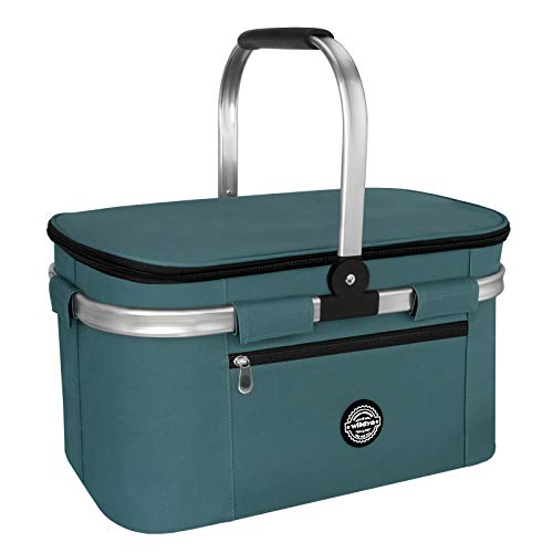 wildya Picknickkorb 27L, Thermo Einkaufskorb Kühltasche faltbar, Isolierter Korb, Outdoor Kühlbox für unterwegs, Kühltasche für den Außenbereich