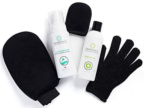 Skinerals Premium Self Tanning Set with Natural & Organic Ingredients, Californium Sunless Bronzer, Amber Glow Tan Extender Lotion, & Tanning Mitt & Exfoliator Glove Set