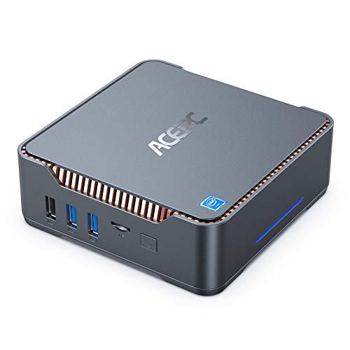 Mini PC, 8GB DDR4 + 128GB SSD Intel Celeron J4125 Procesador (hasta 2.7GHz) Windows 10 Mini Ordenador de Sobremesa, WiFi de Banda Dual 2.4G/5G, 2*VGA+1*HDMI Puertos, BT4.2, 4K HD Mini Computadora