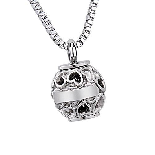 Collar con abalorio de urna de cremación y grabado en inglés 'Always in my heart', de acero inoxidable, acero inoxidable, Silver Tone, 22mmx16mm