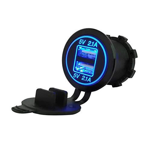 YMHAN Impermeable Universal de los Puertos duales USB Cargador de energía LED 12-24V del zócalo del Adaptador de mechero de Coche Accesorios Auto Parte Interior (Color Name : Blue)