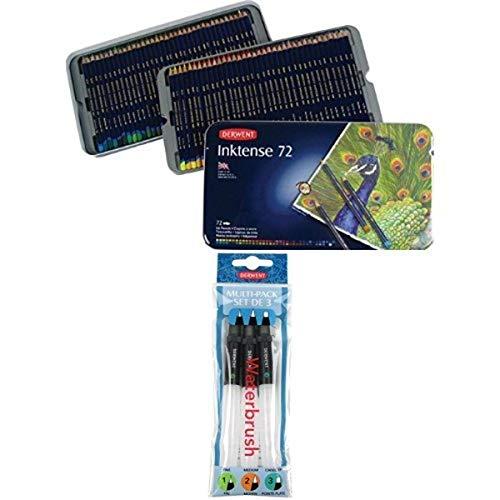 Derwent Inktense Pencils, 4mm Core, Metal Tin, 72 Count (2301843) + Waterbrush pack