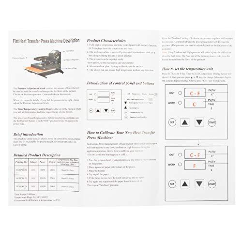 D4P Display4top Transferpresse Tassenpresse Textilpresse T-Shirt Transferpresse Sublimationsmaschine, Einsatz für Industrie, Gewerbe und Haushalt (25cm x 30cm) - 7