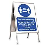 A1 Kundenstopper, Wetterfest, Aluminium, Metallrückwand, Werbeaufsteller, Plakatständer A1 beidseitg mit Schutzfolien