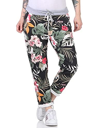 Zarmexx Damen Sweatpants Baggy Hose Boyfriend Freizeithose Sporthose All-Over Roses Print One Size (floral1, One Size)