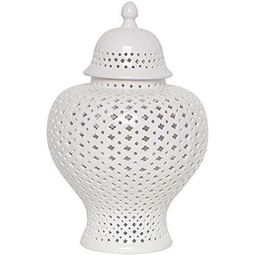 QULONG Jarra Hueca Blanca Simple de cerámica Europea, Adornos de cerámica en Forma de jarrón Grande, Accesorios de decoración para el hogar de la Sala de Estar de artesanía,38x23cm
