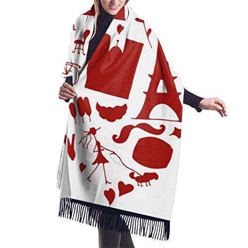 Bufanda grande I Love France Colección de iconos Boceto para tu chal Abrigo Bufanda cálida de invierno Capa Bufandas de gran tamaño Buf