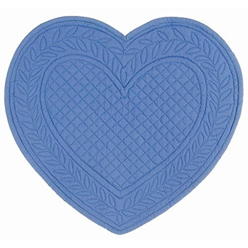 BLANC MARICLO' Carmen - Juego de 2 manteles individuales con diseño de corazón, 30 x 32 cm, color azul