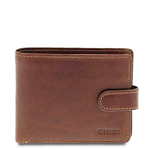 Giudi - Cartera de piel auténtica para hombre, fabricada en Italia, marrón (Marrón) - 6106/GD