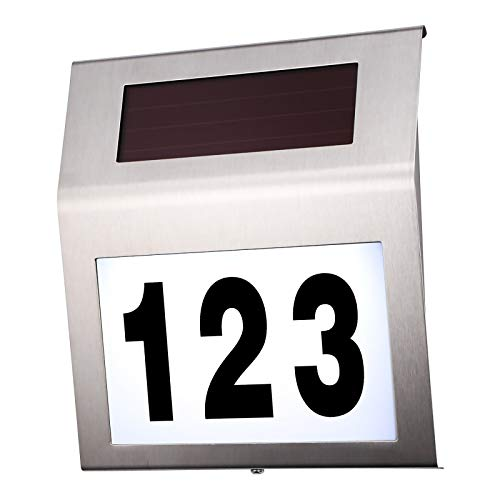 Sunsbell House Numbers Solar Powered Address Numbers Sign for Houses Stainless Steel House Number Plaque Light Up for Home Outdoor Yard Street