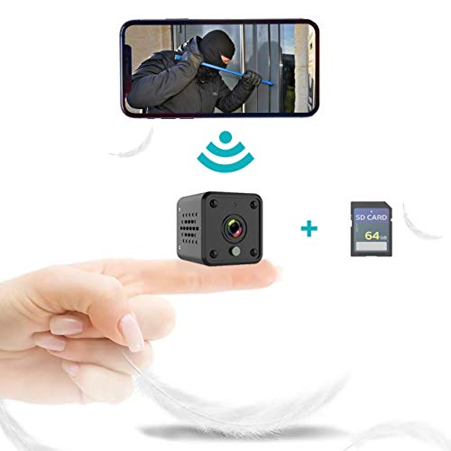1080P Hidden Camera for Home Security with 64G SD Card, Mini Camera WiFi, Wireless, Night Vision, Small Security Camera for Home and Office, Nanny Cams Wireless with Cell Phone App