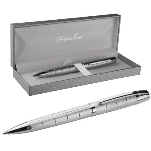 Kar@Kas * Ferraghini Business-Pen * Exklusiver Kugelschreiber in Silber mit Etui