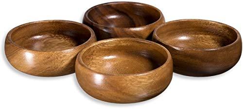 Acacia Wood Hand-Carved Set of 4 Calabash Bowls 4'