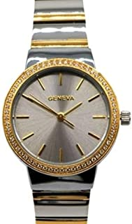 ساعة يد نسائية فاخرة بإطار زركون, تصميم أنيق من ماركة جنيفا الأصلية, لون ذهبي وفضي , أنالوج, ضد الماء