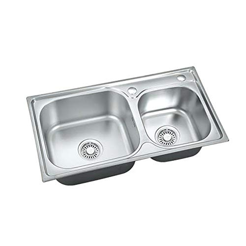 cjcaijun Estante Doble Acero Inoxidable del tazón del Fregadero de Cocina (Color : Silver, Material : Stainless Steel)