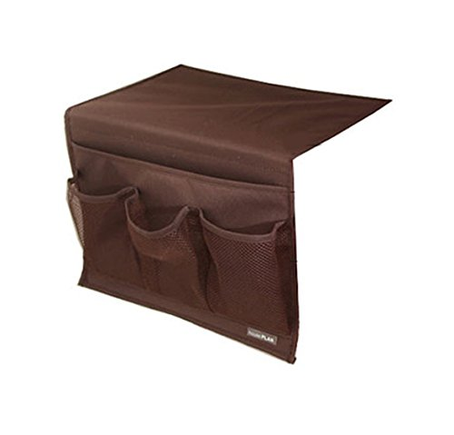 BlanceEG Bedside Storage Organizer, Caddy Hanging Storage Bag with 4 Pockets for Remote Control, Magazines (Brown)