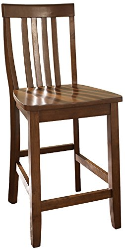 Crosley Furniture Schoolhouse Bar Stool (Set of 2), 24-inch, Classic Cherry