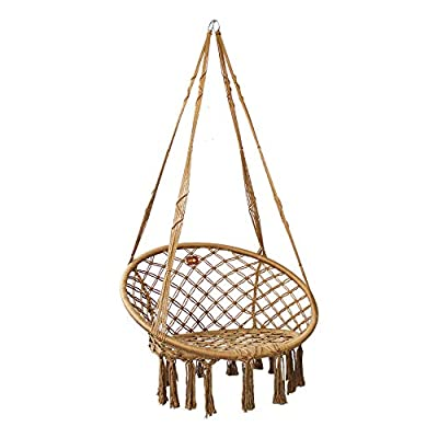 PIRNY Hammock Chair Rope Swing -Handwoven Cotton Hanging Chair for Indoor Outdoor Patio Garden Porch,Capacity Up to 500 LB,with Side Storage Bag (Gray)