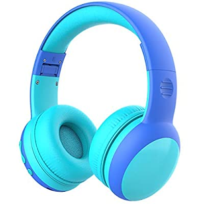 gorsun bluetooth kids headphones with 85dB limited Volume, Children's Wireless Bluetooth Headphones, Foldable bluetooth Stereo kids headsets - Blue New Version from gorsun