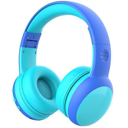 Cuffie Bluetooth per Bambini, Limitatore audio a 85 dB, Bambini Cuffie Senza Fili Over Ear, Stereo Cuffie per Bambini con Microfono, Cuffie Pieghevoli per Ragazzi e Ragazze - Azul