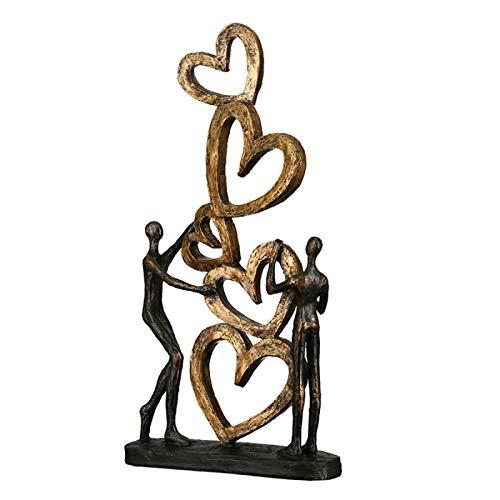 Casablanca - Skulptur, Dekofigur, Figur - Herz auf Herz - Poly - antikfinish - 41x21x6,5cm