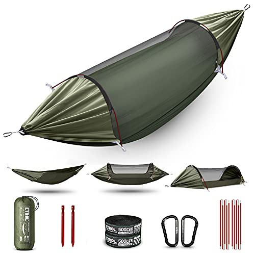ETROL Hammock, Upgrade Double & Single Camping Hammock with Mosquito Net, Tree Straps, Carabiners, Aluminium Poles, 3 in 1 Function Portable Hammock for Outdoor Hiking Patio Travel—Olive Green